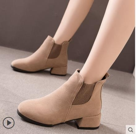 大碼粗跟短靴 馬丁靴女2021年秋冬季新款英倫風加絨百搭高跟鞋切爾西靴子 3C數位百貨