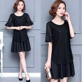 【韓國KW】(現貨在台)-2XL-3XL-清新氣質蕾絲顯瘦洋裝