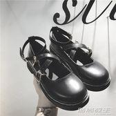 復古學院風女單鞋夏秋新款圓頭鬆糕厚底娃娃鞋日繫包頭小皮鞋     時尚教主