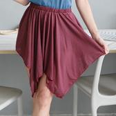 質感裙 Ringbear眼圈熊-絲質夢幻.鬆緊帶下襬不規則雙口袋棉裙Q42(灰、紅S-L)