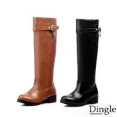 Dingle丁果ღ金屬裝飾皮帶扣環騎士靴長靴(二色34-43大尺碼)