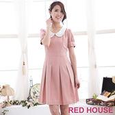 【RED HOUSE 蕾赫斯】寶石領百摺洋裝(粉色)