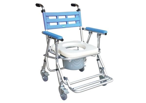 便浴椅 YH121-3鋁合金有輪收合式便器椅(可調高低)