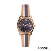 FOSSIL SCARLETTE MINI 米x藍x駝色復古條紋鑲鑽皮革女錶 32mm