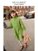 兒童毛衣女 女童毛衣新款秋裝高領套頭冬加厚大兒童裝【免運直出】