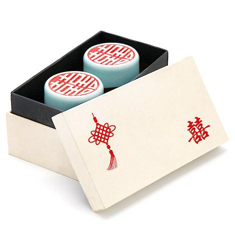 幸福婚禮小物❤青瓷雙囍杯❤結婚禮物/情人節禮物/居家用品/陶瓷杯