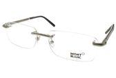 MONTBLANC 光學眼鏡 MB492 C016 (銀-黑) 經典鋼筆系列無框款 #金橘眼鏡