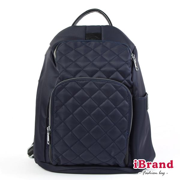 iBrand後背包 率性菱格紋後開式防盜尼龍後背包(M)-深靛藍 HS-2003