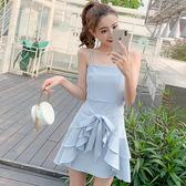 VK精品服飾 韓系氣質吊帶綁系蝴蝶結荷葉邊無袖洋裝