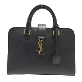 SAINT LAURENT YSL 聖羅蘭 黑色牛皮logo金釦手提肩背兩用包 Monogram Cabas BRAND OFF