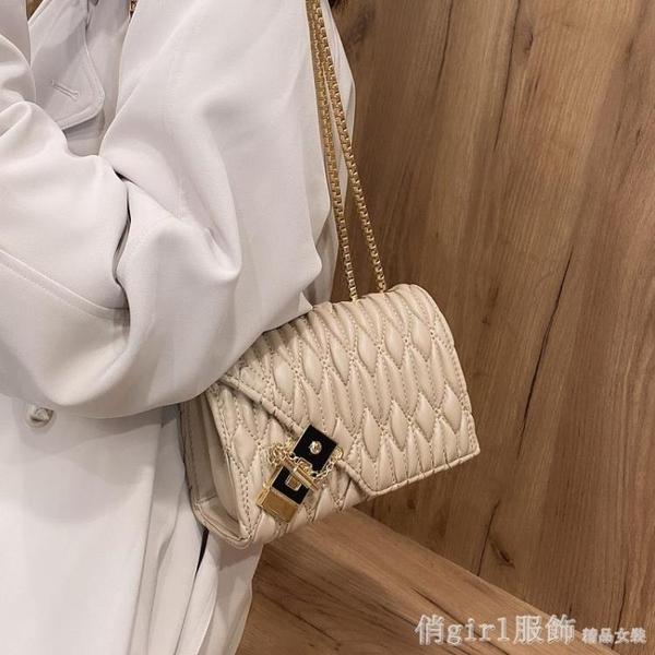斜背包 高級質感小包包女夏2021新款潮時尚洋氣錬條小方包褶皺單肩斜背包 開春特惠