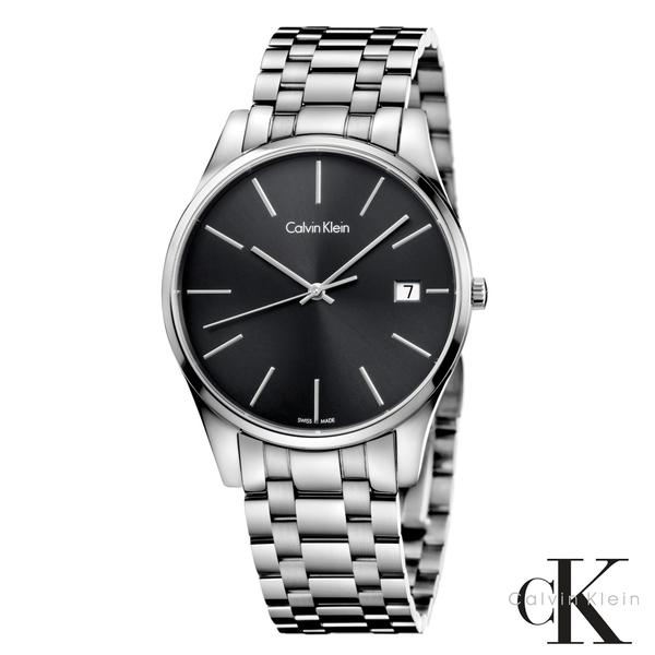 CalvinKlein  卓越菁英藍寶石玻璃石英腕錶  K4N21141