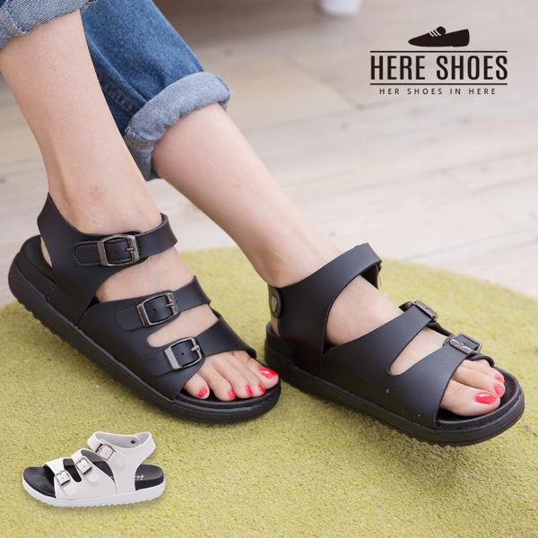 [Here Shoes]MIT台灣製 時尚經典色 皮革 三金屬扣環 3.5cm底 涼鞋 2色─KW8712