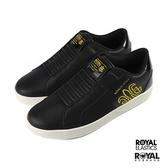 Royal Adelaide 黑色 皮質 套入 休閒鞋 男款 NO.B1001【新竹皇家 02694-993】