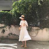 挺版洋裝2018夏季露背系帶短袖中長裙韓系氣質女裙 均碼(全館八五折)