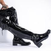 長靴 漆皮高筒厚底男鋼管舞過膝高跟長皮靴韓版超長筒大腿馬靴演出男鞋【快速出貨】