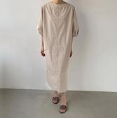 洋裝短袖裙子M-2XL新款直筒裙簡約中袖亞麻長衫連身裙S261-840.胖胖唯依
