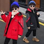 卡通兒童棉服加絨加厚夾克外套 羽絨外套男孩男童外套 中長款秋冬男寶寶棉衣 中大童韓版外套