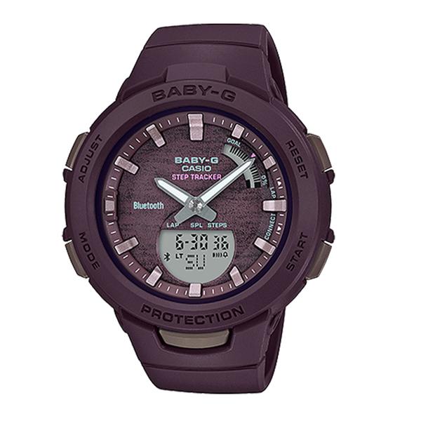 CASIO手錶專賣店 BABY-G BSA-B100AC-5A 藍牙運動雙顯錶 樹脂錶帶 咖啡 防水100米 雙LED照明