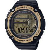 CASIO 世界地圖液晶螢幕數位腕錶-金(AE-3000W-9A)