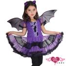 兒童角色扮演 紫 神秘暗夜蝙蝠 萬聖節童...
