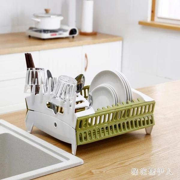 折疊瀝水架廚房置物架放碗碟收納架杯子晾干架瀝碗架裝筷子收納盒PH4489【棉花糖伊人】