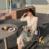 蕾絲連身裙女法式復古溫柔風氣質仙女裙收腰顯瘦長裙【創世紀生活館】