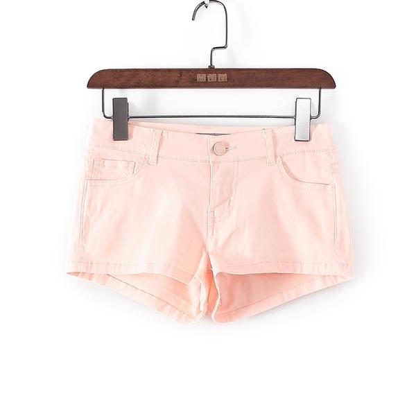 [超豐國際]愛春夏裝女裝藕粉色提臀中低腰牛仔短褲 41102(1入)