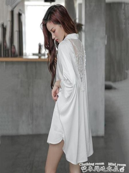 性感睡衣夏季睡裙女雪紡性感長款蕾絲薄款白色襯衫寬鬆大碼男友風春秋睡衣 迷你屋 新品
