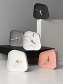 北歐風ins異形水泥時鐘 桌面擺件臥室靜音小座鐘家居裝飾 卡布奇諾