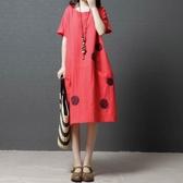 大尺碼 洋裝夏裝新款韓版寬鬆大碼女裝棉麻連衣裙文藝圓點印花顯瘦a字裙 快速出貨