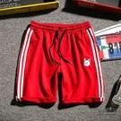 運動休閒條紋短褲男士加肥大尺碼五分褲正韓潮流男褲子