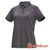 【wildland 荒野】女 彈性POLO吸排抗UV條紋衣『深灰』0A71659 T恤 POLO衫 上衣 女版 短袖 排汗