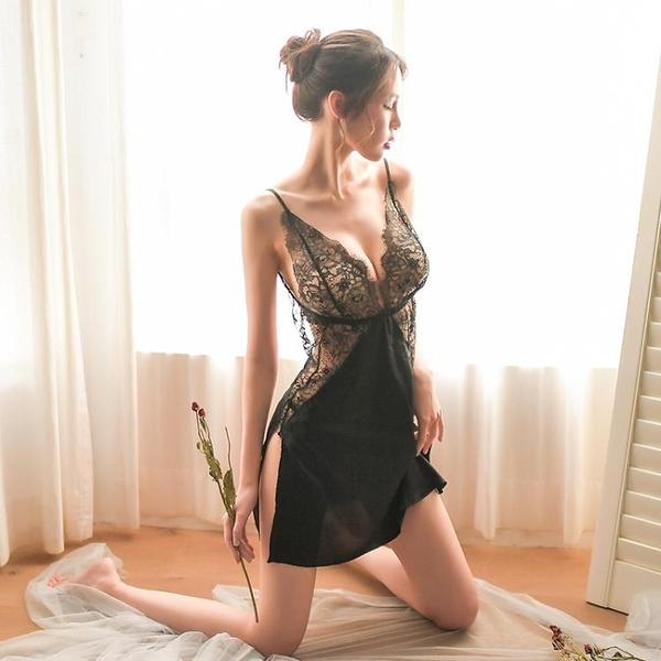 睡衣 睡衣蕾絲性感女夏季薄款騷火辣透明冰絲露揹吊帶睡裙情調內衣