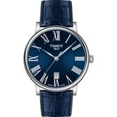 TISSOT 天梭 Carson 羅馬石英錶-藍/40mm T1224101604300