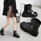大尺碼女鞋34-43 2020新款簡約百搭扣帶環馬丁靴 低跟短靴~2色
