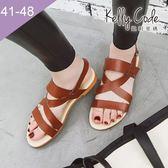 大尺碼女鞋-凱莉密碼-時尚潮流款交叉網帶平底羅馬涼鞋1cm(41-48)【XL3-8】深棕