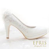 現貨 MIT小中大尺碼新娘婚鞋推薦閃耀阿波羅 水鑽花朵圓頭真皮腳墊高跟鞋21-26EPRIS艾佩絲-浪漫白色