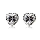 耳環 925純銀鑲鑽-心型時尚情人節生日禮物女耳針3色73gt39【時尚巴黎】