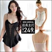 克妹Ke-Mei【AT46551】親愛的想我了嗎?性感珍珠透視蕾絲吊帶開檔連身睡衣
