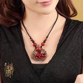 民族風項鍊紅色琉璃珊瑚裝飾品吊墜配飾短款鎖骨鍊復古女潮