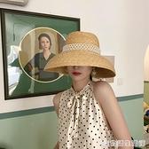 珍珠大帽檐草帽女夏時尚遮陽復古赫本海邊沙灘大沿太陽帽草編帽子 居家物語