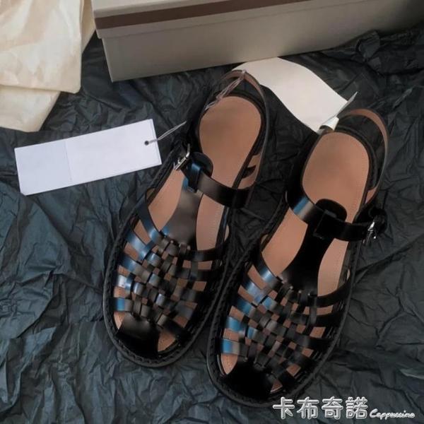夏季新款編織包頭復古羅馬鞋女鏤空休閒平底沙灘鞋一字扣涼鞋 卡布奇諾