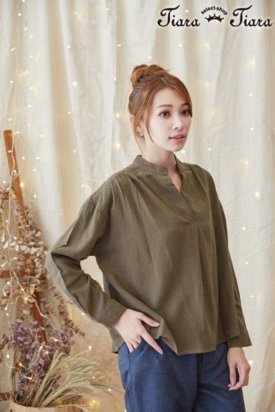【Tiara Tiara】激安 純棉半開襟襯衫上衣(白/藍/綠)