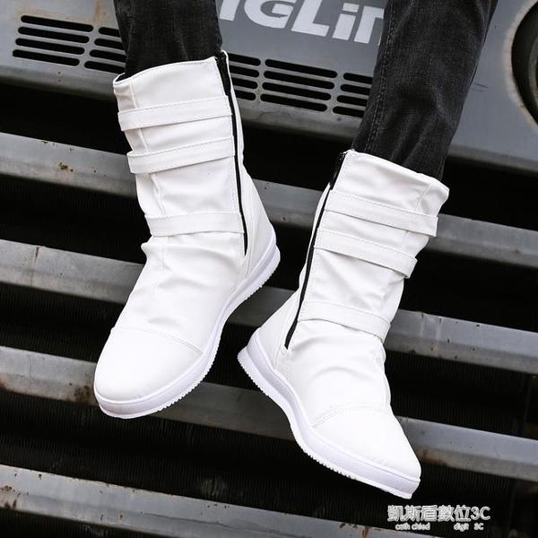 馬丁靴男靴子潮流馬丁靴男英倫高筒鞋韓版朋克中筒牛仔皮靴拉錬鉚釘馬靴 新年優惠