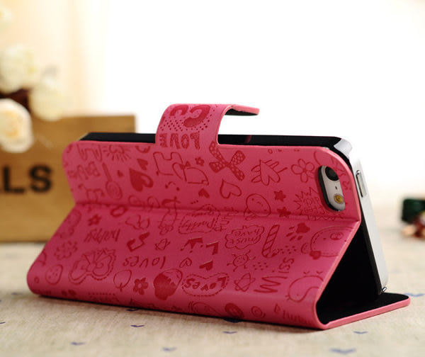 iPhone 5S 免運 韓國小魔女iPhone 5/5S代皮套 5G支架皮套 手機皮套 保護殼