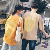 情侶裝 原宿風情侶裝夏裝半袖bf韓版潮寬鬆T恤女短袖上衣學生班服 2色S-XL