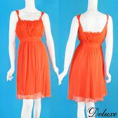 【Deluxe】夏日沁涼繩結花邊雪紡露背無袖洋裝(橘)