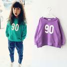 春季女童寶寶休閒數字長袖圓領T恤上衣。紫色 / 綠色