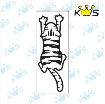 【浮雕貼紙】貓爬牆 # 壁貼 防水貼紙 汽機車貼紙 8.3 cm x 23 cm